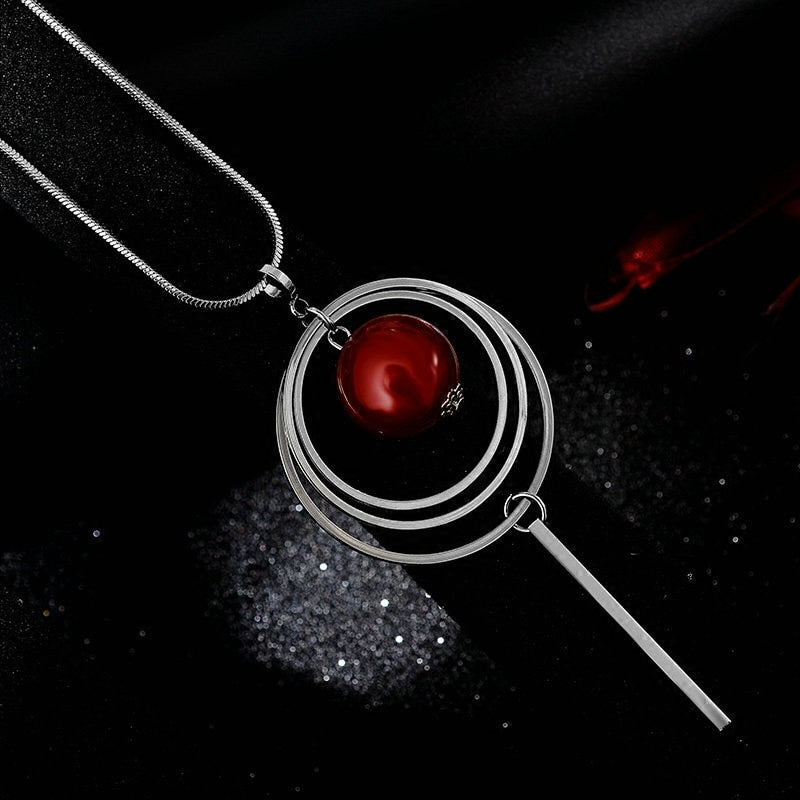 Long Red Beads Pendant