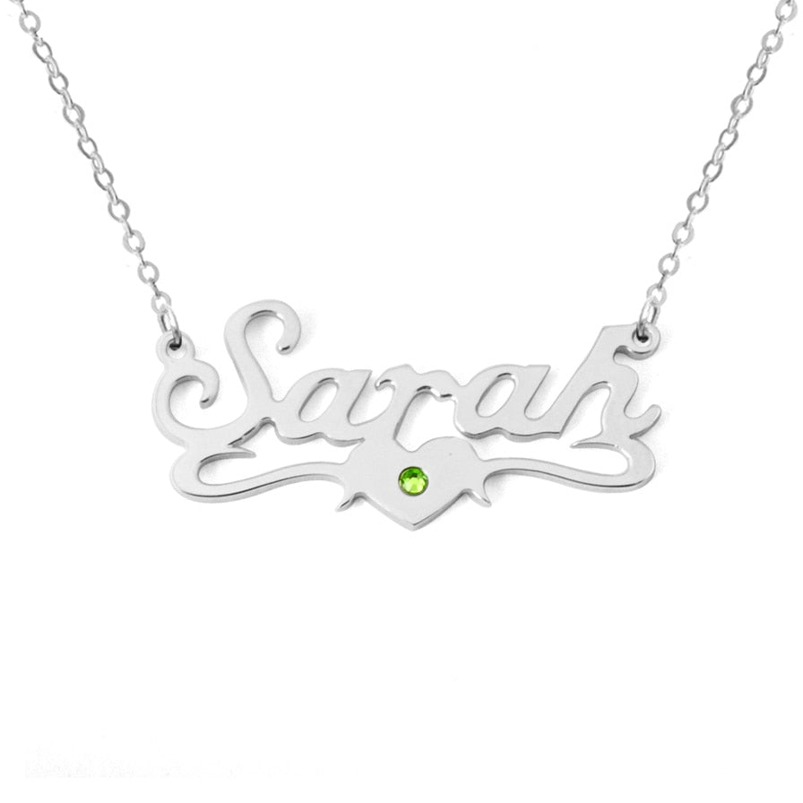 Custom Name Necklace With Birthstone