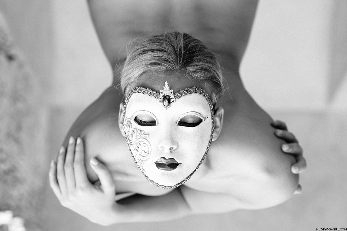 nude yoga girl face mask blog post photo in art gallery