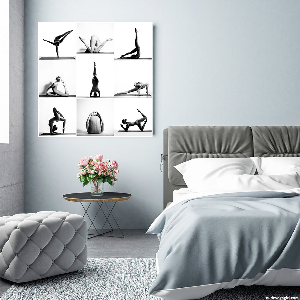 yoga art print hanging on the wall in bedroom for interior inspiration