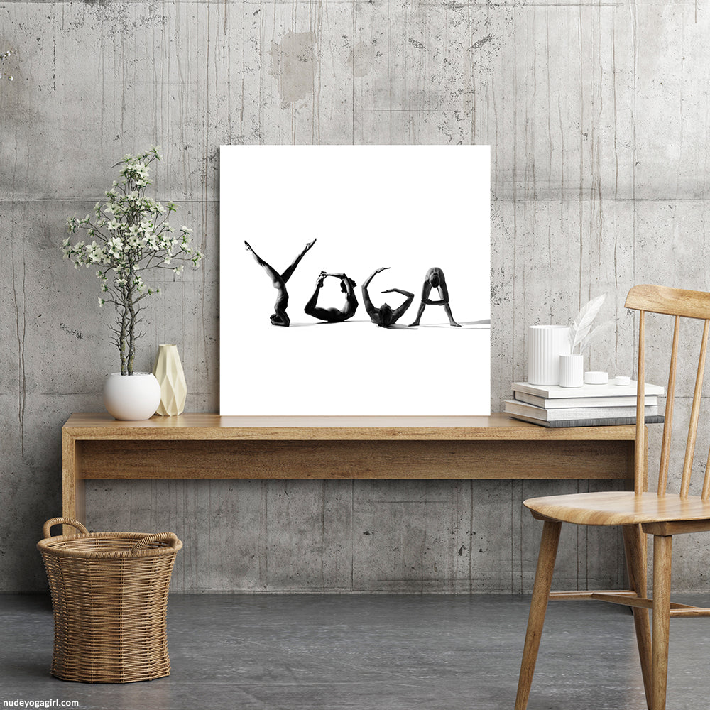 Yoga art print hanging on the wall in classical interior.