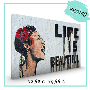 "Banksy ""Life is beautiful"" - Canva encadré - 55x40 cm"