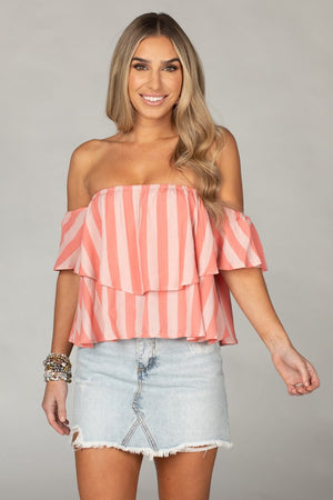BUDDYLOVE LAVERNE OFF THE SHOULDER TOP - BUBBLEGUM