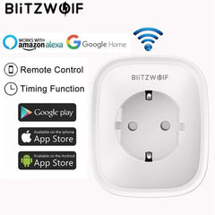 BlitzWolf BW-SHP2 WIFI Smart Socket UE Plug 220 v 16A Télécommande Timing Intelligente Interrupteur Travail Pour Amazon Alexa/ google Assistant