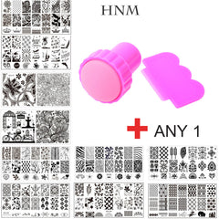 HNM 1 set Nail Plaques Nail Art Stamping Plaques Stamping modèle Image Plaques Nail Timbre Plaque avec Timbre