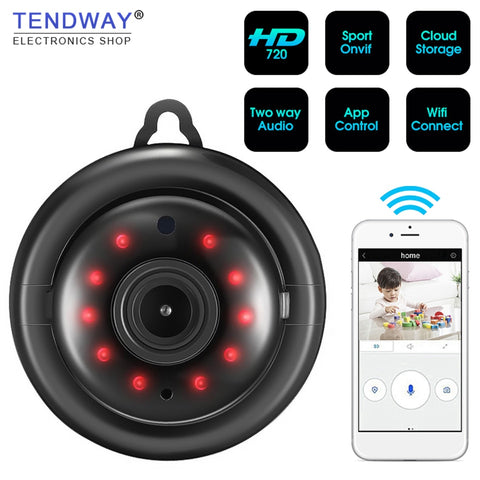 Tendway Mini caméscopes WIFI 720P IP caméra sans fil petit CCTV infrarouge Vision nocturne détection de mouvement SD carte Slot Audio APP