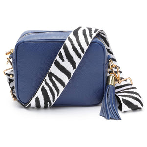 Elie Beaumont-Cross Body Bag Navy With Zebra Strap
