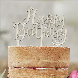 Ginger Ray-Wooden Happy Birthday Cake Topper | Eve & Ranshaw