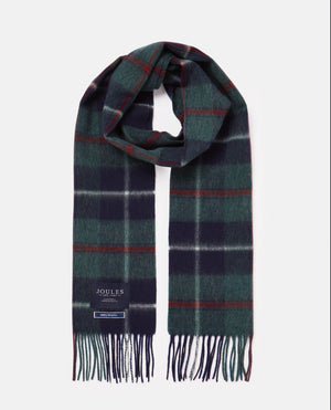 Joules-Tytherton Wool Checked Scarf Green/Multi Check | Eve & Ranshaw