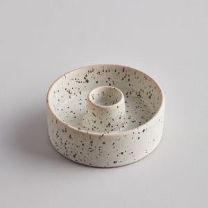 St Eval-Candle Holder Plate Stone Speckle | Eve & Ranshaw