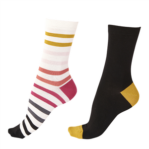 Pretty Polly-Narrow Stripe Ladies Bamboo 2 Pair Pack Socks | Eve & Ranshaw