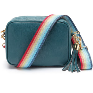 Elie Beaumont-Cross Body Bag Turquoise With Rainbow Strap | Eve & Ranshaw