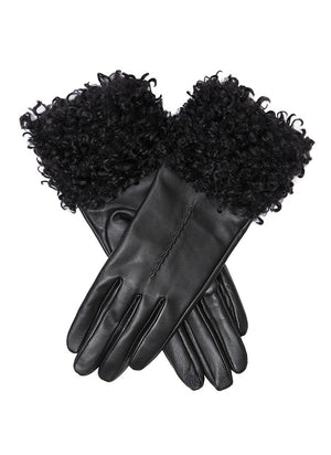 Dents- Ladies Black Leather Gloves With Faux Shearling Cuff