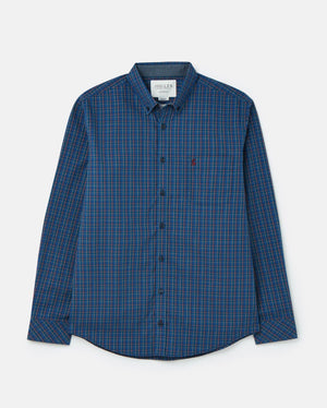 Joules-Welford Classic Fit Long Sleeve Check Shirt Navy/Yellow | Eve & Ranshaw