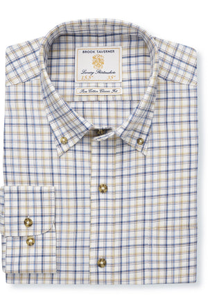 Brook Taverner-Cotton/Wool Check Shirt Navy/Blue/Beige | Eve & Ranshaw