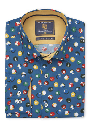 Brook Taverner-Poolballs Long Sleeve Shirt Blue Base | Eve & Ranshaw