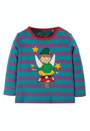Frugi-Thistle Stripe/Fairy Button Applique Top | Eve & Ranshaw