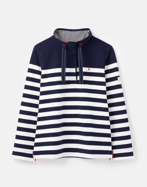 Joules-Saunton Funnel Neck Sweatshirt French Navy Cream Stripe | Eve & Ranshaw