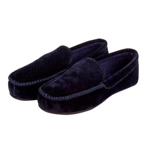 Totes-Airtex Suedette Moccasin Navy Slippers | Eve & Ranshaw