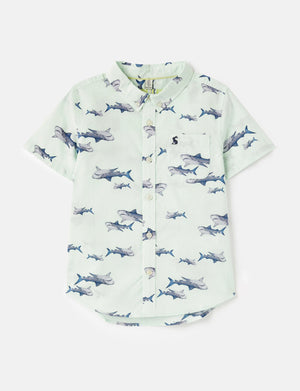 Joules-Sefton Short Sleeve Green Sharks Printed Shirt | Eve & Ranshaw