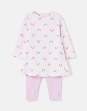 Joules-Christina Dress And Legging Set Lilac Rainbow | Eve & Ranshaw