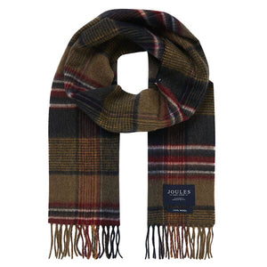 Joules-Tytherton Wool Checked Scarf Green Marl Check | Eve & Ranshaw