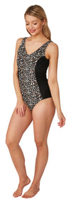 Oyster Bay-Animal Print Panelled Swimsuit | Eve & Ranshaw