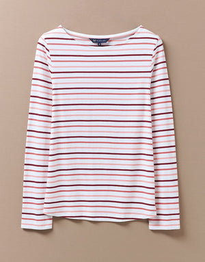Crew Clothing-Essential Breton Long Sleeve Top White Multi | Eve & Ranshaw