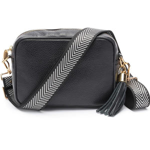 Elie Beaumont-Cross Body Bag Black With Silver Chevron Strap | Eve & Ranshaw