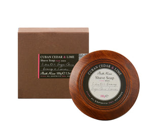 Bath House-Cuban Cedar & Lime Shave Soap In Wooden Bowl | Eve & Ranshaw