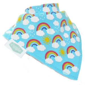 Ziggle - Bandana Dribble Bib Rainbows On Blue | Eve & Ranshaw