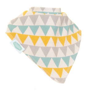 Ziggle - Bandana Dribble Bibs Gold, Silver, Teal Triangles | Eve & Ranshaw