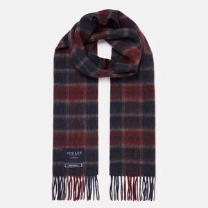 Joules-Tytherton Wool Check Scarf Purple Marl Check | Eve & Ranshaw