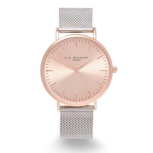 Elie Beaumont-Oxford Large Mesh Two-Tone Watch | Eve & Ranshaw