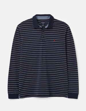 Joules-Woodwell Long Sleeve Polo Navy Cream Stripe | Eve & Ranshaw