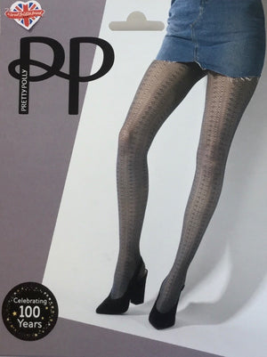 Pretty Polly-Delicate Pattern Tights Midnight | Eve & Ranshaw