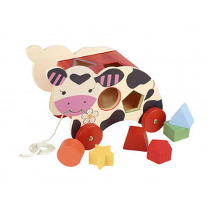 Orange Tree Toys-Cow Shape Sorter Pull Along | Eve & Ranshaw