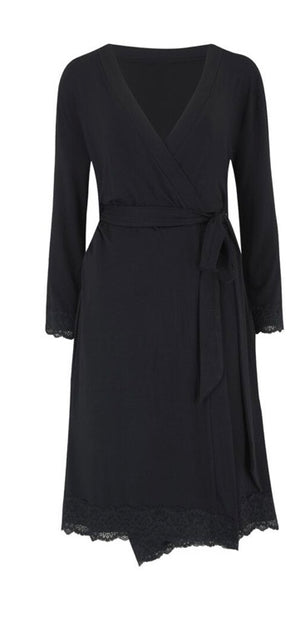 Pour Moi-Sofa Loves Jersey Wrap Gown Black | Eve & Ranshaw