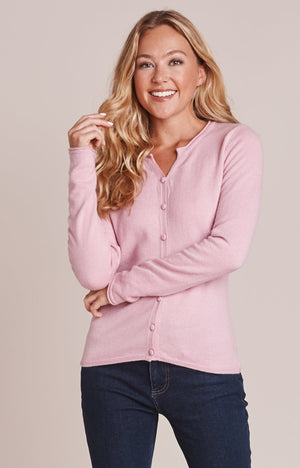Mistral-Lilac pink Notch Neck Fitted Cardigan | Eve & Ranshaw