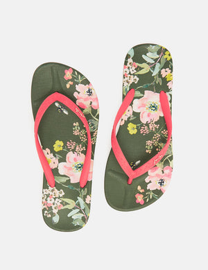 Joules-Flip Flop Green Floral | Eve & Ranshaw