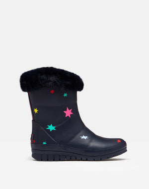 Joules-Junior Chilton Faux Fur Topped Wellies Navy Stars | Eve & Ranshaw
