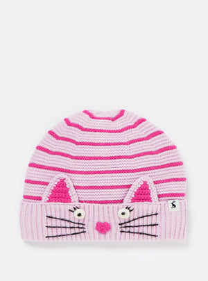 Joules-Chummy Embroidered Character Knitted Hat Lilac Cat | Eve & Ranshaw