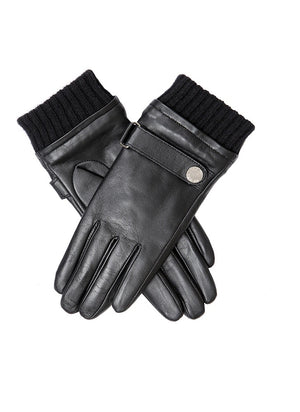 Dents- Ladies Water Resistant Touchscreen Black Leather Gloves