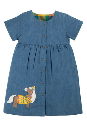 Frugi-Romilly Reversible Dress Chambray/Horse | Eve & Ranshaw