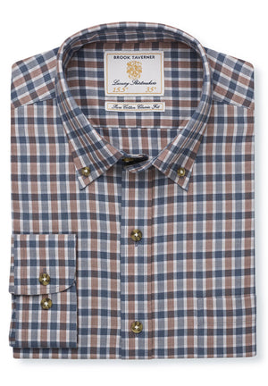 Brook Taverner-Cotton/Wool Check Shirt Mocha/Charcoal | Eve & Ranshaw
