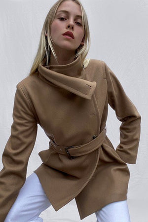 French Connection-Camel Ricio Platform Wool Wrap Coat | Eve & Ranshaw