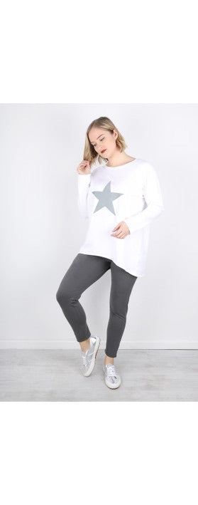Chalk-Robyn Giant Star Top, White/Light Grey | Eve & Ranshaw