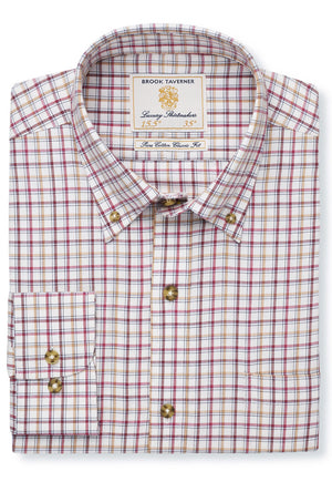 Brook Taverner-Cotton/Wool Check Shirt Rouge/Gold/Wine | Eve & Ranshaw