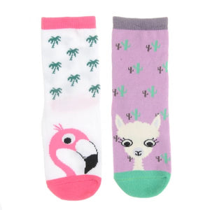 Ziggle-Florence Flamingo And Linda Llama Socks Set | Eve & Ranshaw