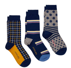 Joules-Striking 3 Pack Socks Multi Pack | Eve & Ranshaw